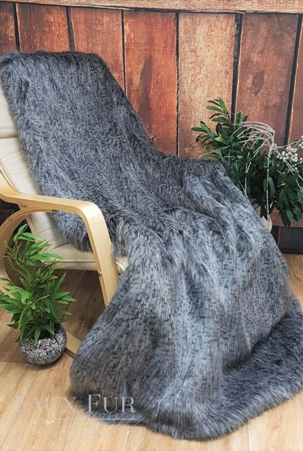 Ash Grey Faux Fur Throw