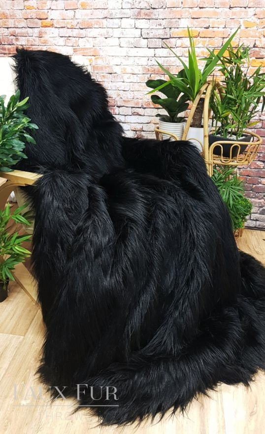 Busby Black Faux Fur Throw