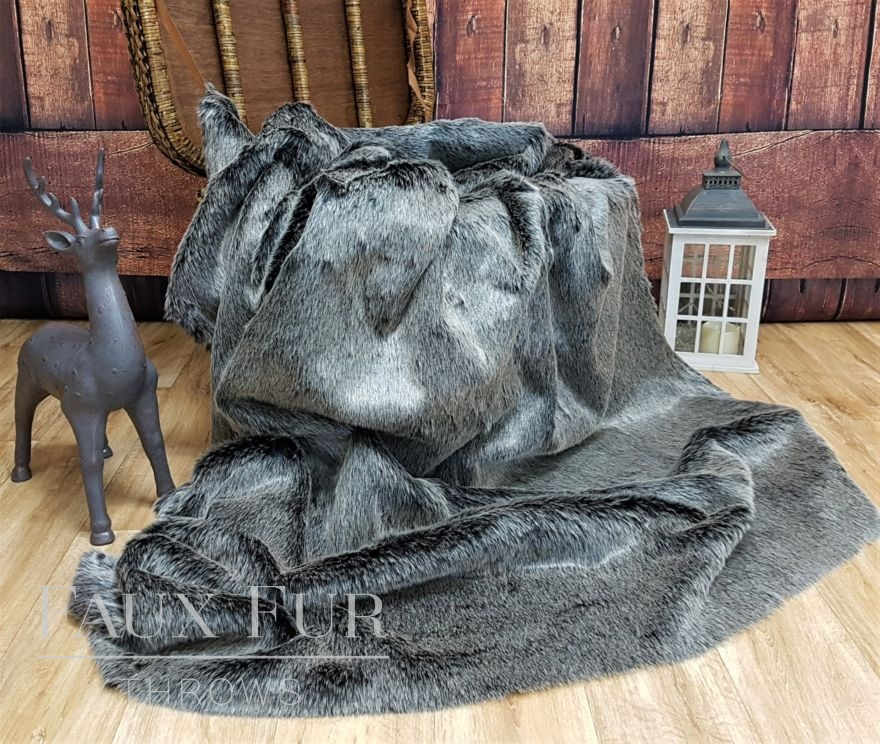 Charcoal Silver Frost Throw