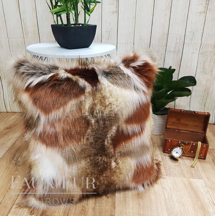 Copper Mosaic Faux Fur Cushion