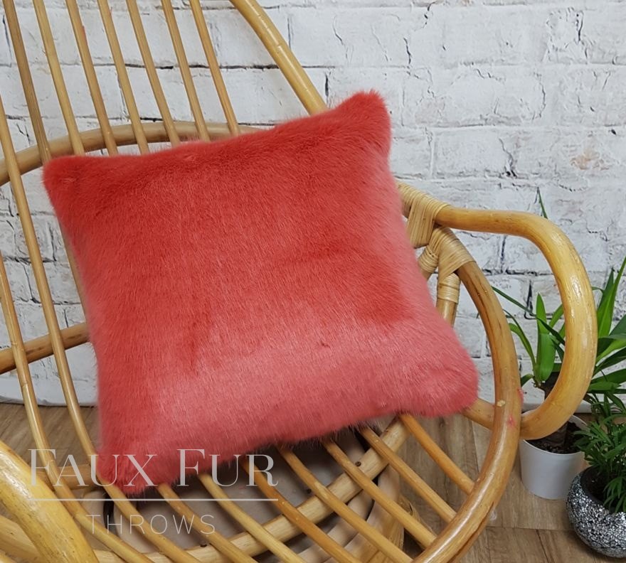 Coral Faux Fur Cushion