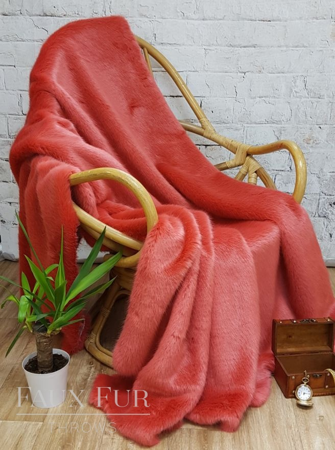 Coral Faux Fur Throw