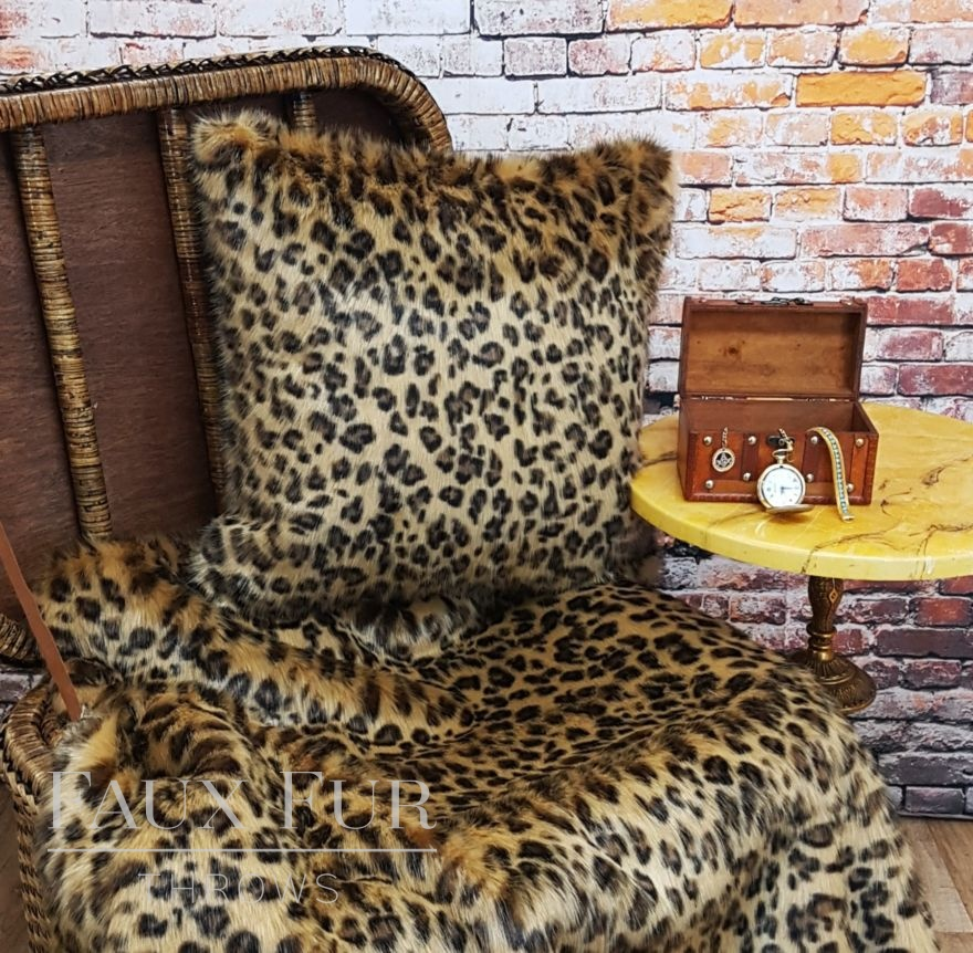 Gold Leopard Faux Fur Cushion