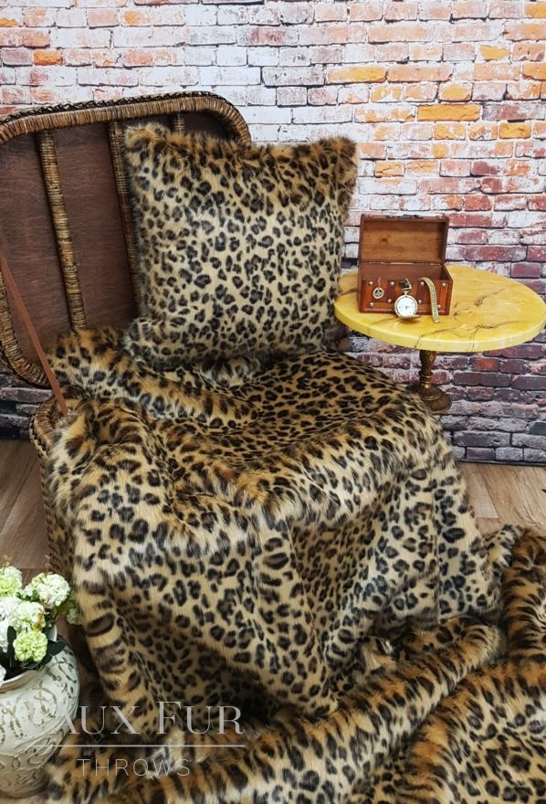 Gold Leopard Faux Fur Throw and Cushion