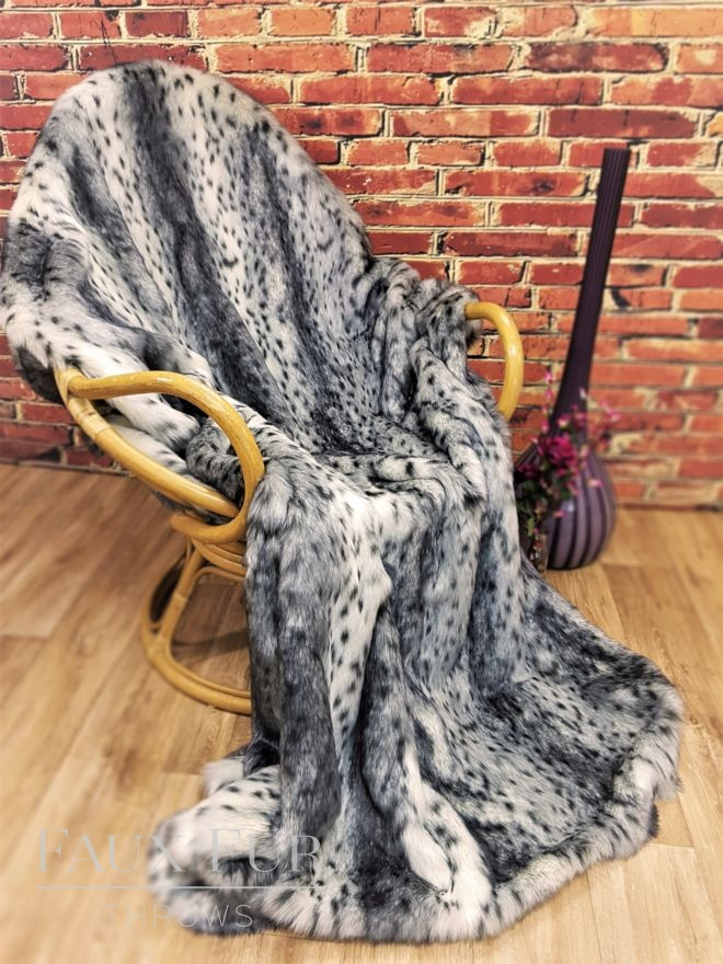 Grey Lynx Faux Fur Throw