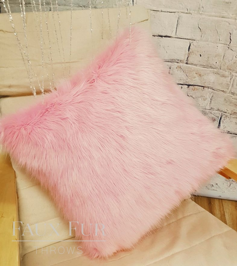 Powder Puff Pink Faux Fur Cushion