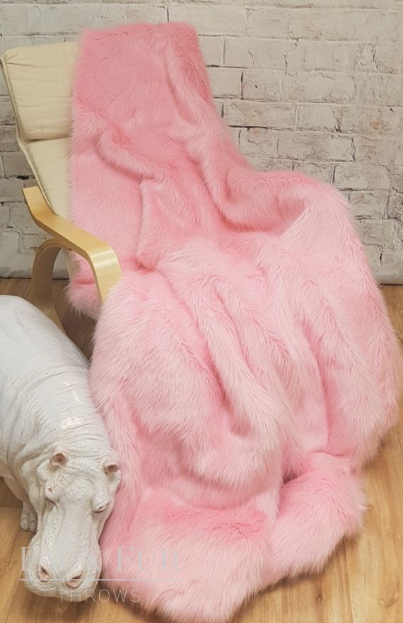 Powder Puff Pink Faux Fur Throw