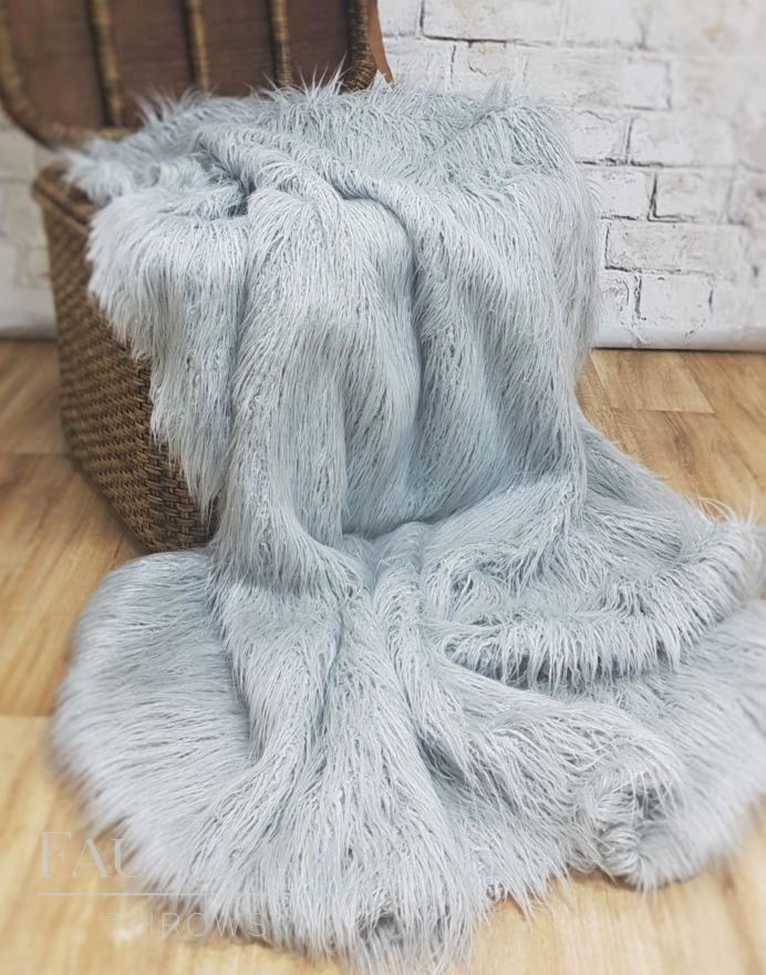 Silver Valais Faux Fur Throw