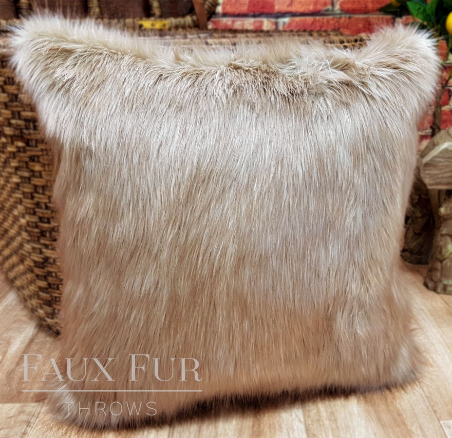 Teddy Beige Faux Fur Cushion