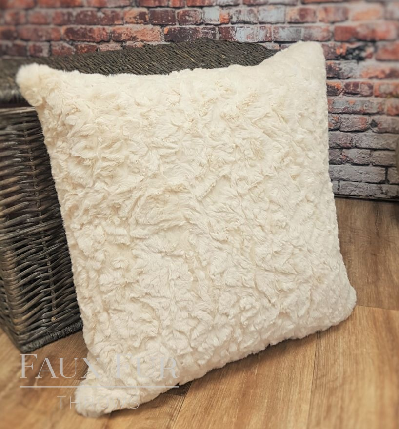 Vintage Champagne Faux Fur Cushion