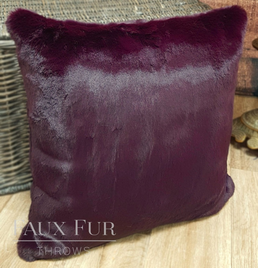 Wine Purple Faux Fur Cushion