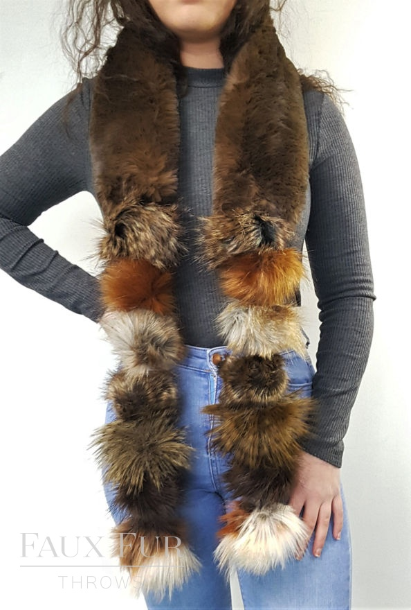 Brown Faux Fur Pom Pom Scarf