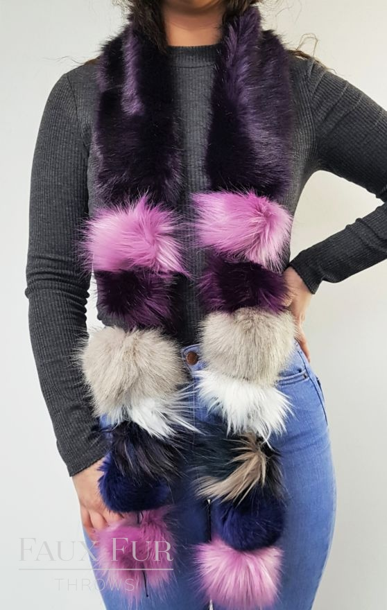 Purple Faux Fur Pom Pom Scarf