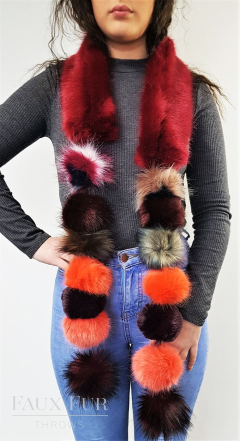 Red and Orange Faux Fur Pom Pom Scarf