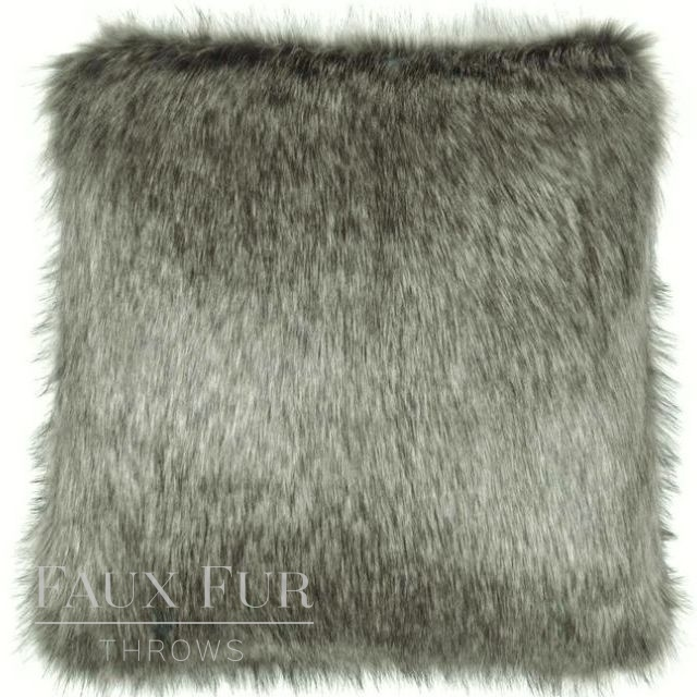 ARABIAN GREY Luxury Faux Fur Cushion 48 cms