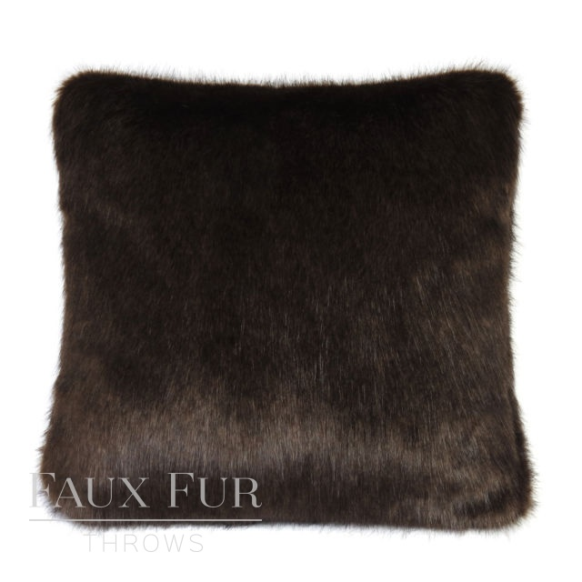 BITTER DARK CHOCOLATE Luxury Faux Fur Cushion 48 cms