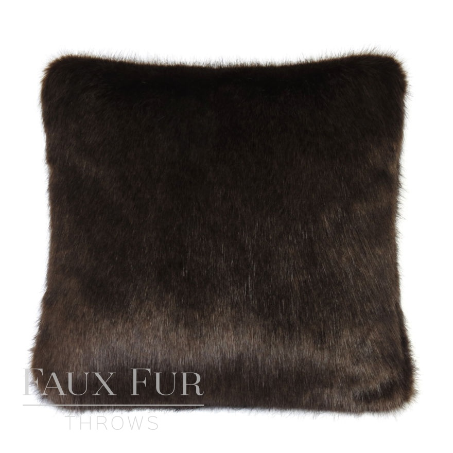Bitter Dark Chocolate Faux Fur Cushion