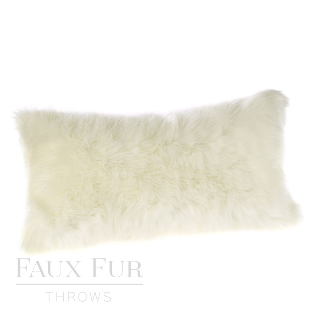 SNOWDROP Luxury Faux Fur Boudoir Cushion