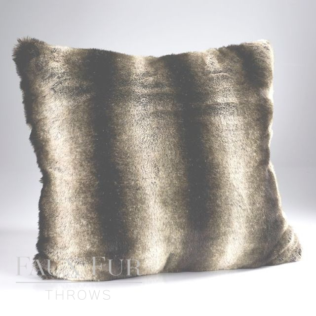 Brown Stripe Large Luxury Faux Fur Cushion 60cm