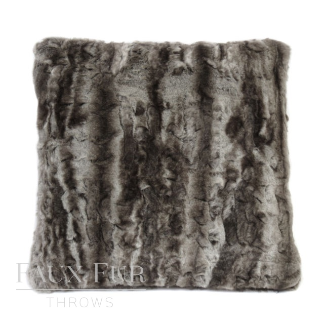 SILVER ANDES Luxury Faux Fur Cushion 48 cms