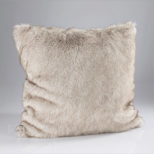 SILVER-BROWN HUSKY Faux Fur Cushion 45 cms