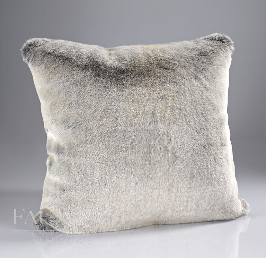 Silver Shadow Luxury Faux Fur Cushion