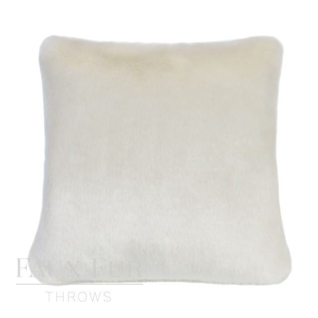 WINTER ERMINE Luxury Cream Faux Fur Cushion 48 cms