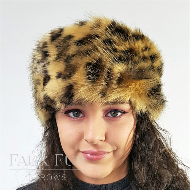 Gold Leopard Faux Fur Headband