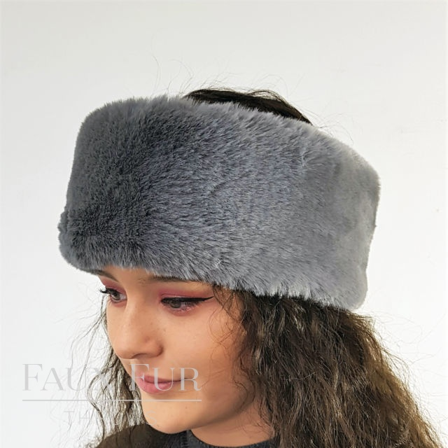 Graphite Faux Fur Headband