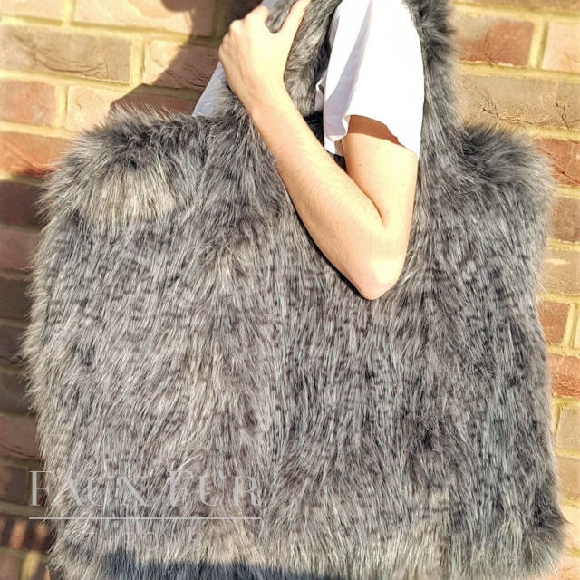 Ash Grey Faux Fur Holdall