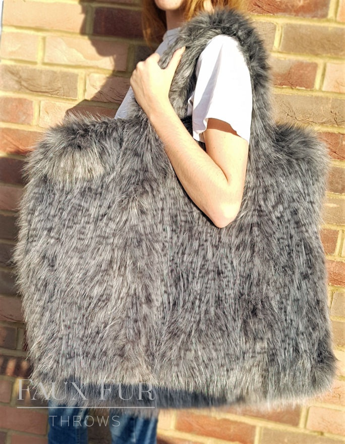 Ash Grey Faux Fur Giant Holdall