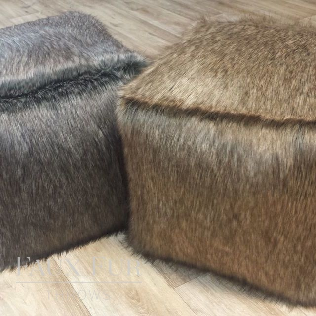 Faux Fur Cube/Footrest  - Luxury ALASKAN ASH