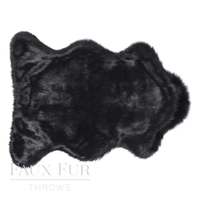 Faux Animal Skin Fur Rug -TWILIGHT Black - 2 sizes