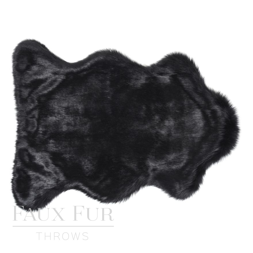 Faux Animal Skin Rug - Luxury Twilight Black
