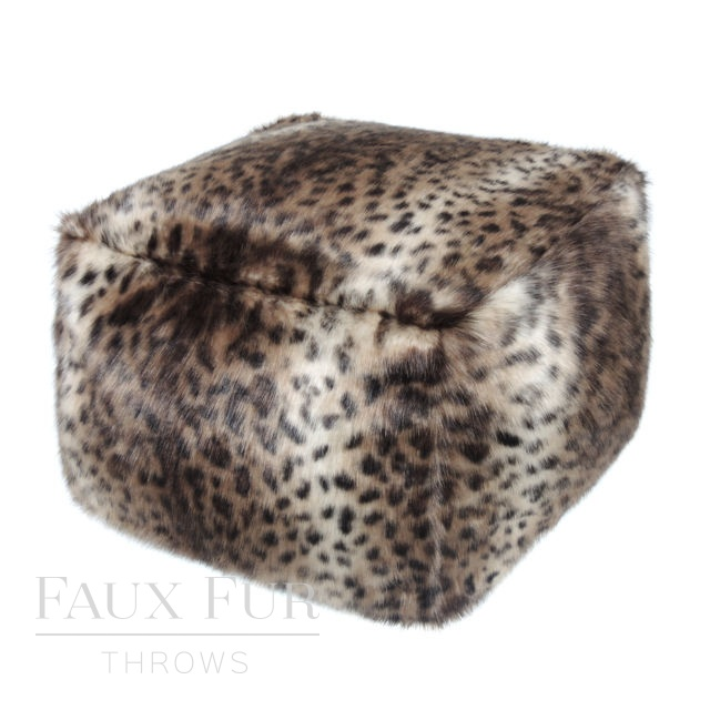 Faux Fur Cube/Footrest  - Luxury COLOMBIAN OCELOT