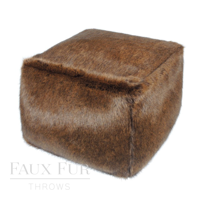 Faux Fur Cube/Footrest  - Luxury AMBER BROWN