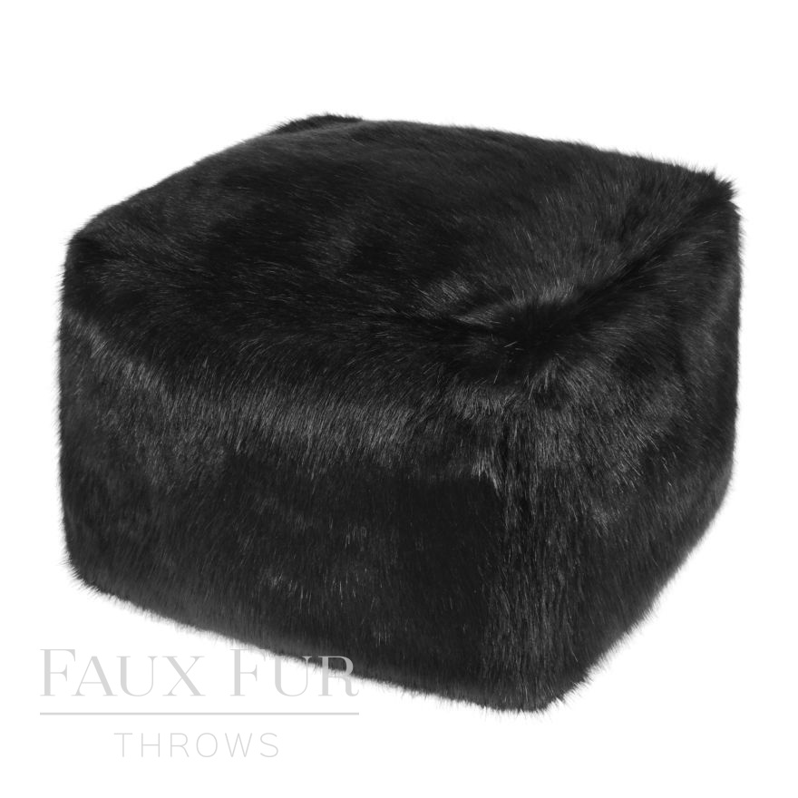 Luxury Faux Fur Cube-Footstool in Jet Black