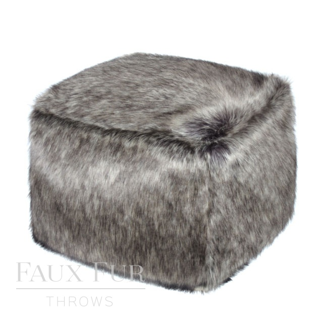 Faux Fur Cube/Footrest  - Luxury ARABIAN GREY