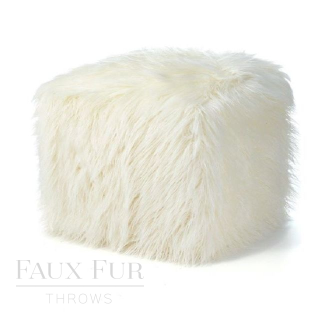 Faux Fur Cube/Footrest  - Luxury MONT BLANC