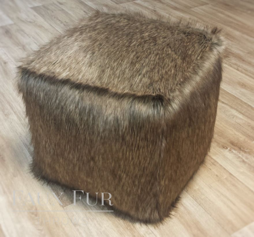 Faux Fur Cube in luxury Breckenridge brown fabric