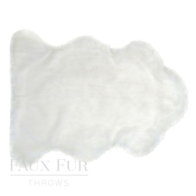 Faux Animal Skin Fur Rug - MONT BLANC White - 2 sizes