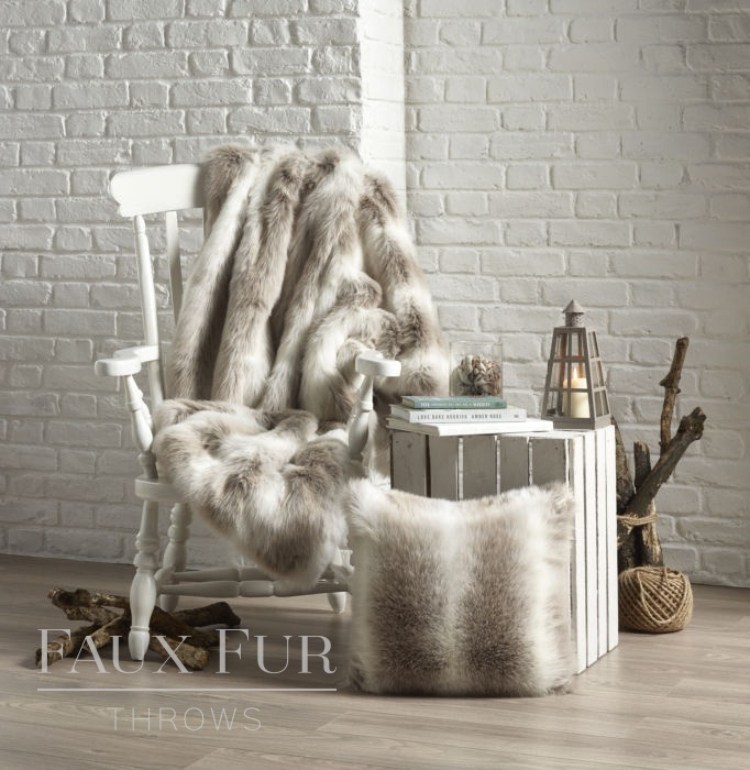 Alpendorf Faux Fur Throw on Chair