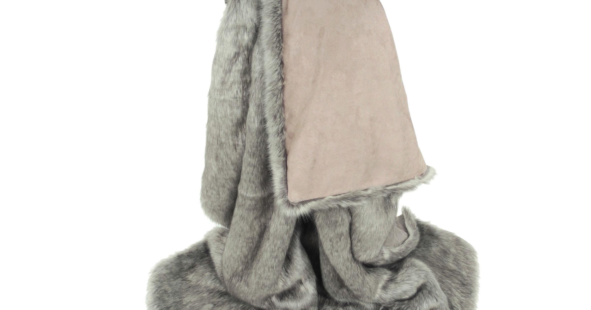 Grey Silver Faux Fur Throw u2013 Arabian Grey