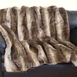 Bavarian Wolf Faux Fur Throw