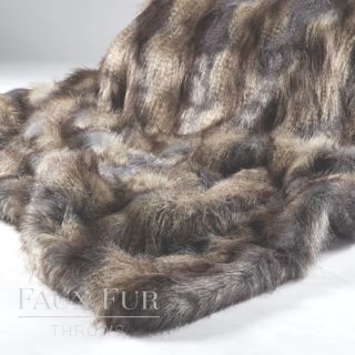 Blue Mountain luxury Long Haired Faux Fur Throw