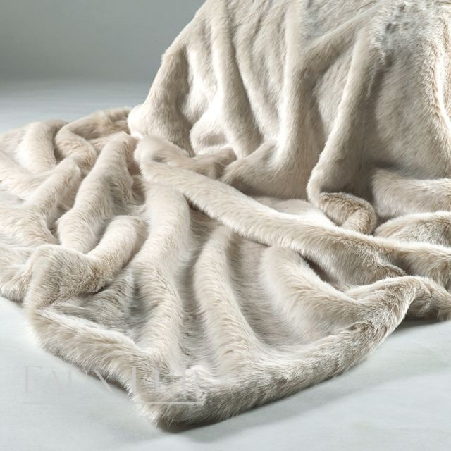 CREAM LATTE Faux Fur Bed Runner