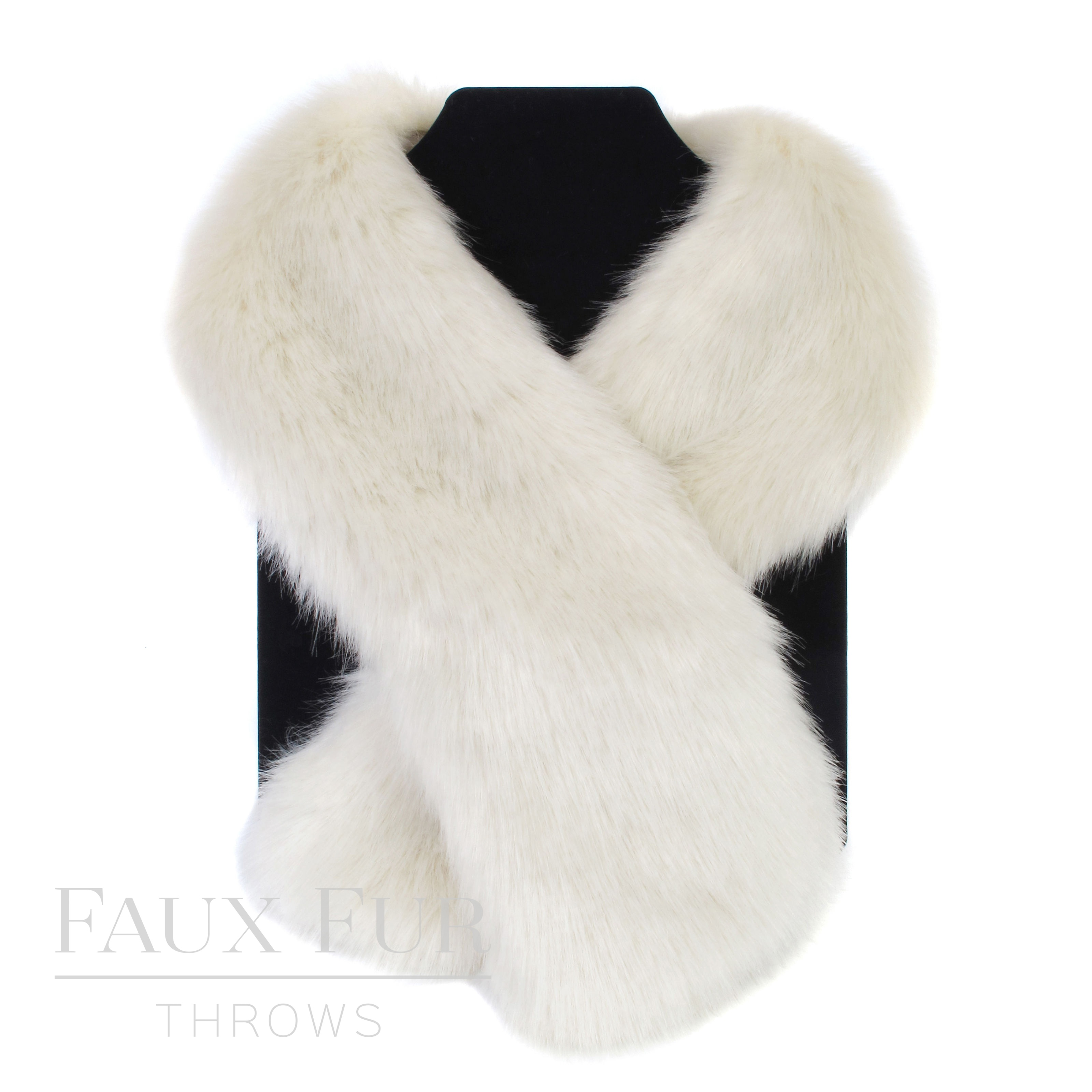 Faux Fur Scarf - Tippet Scarf - Ermine - White - Cream - Helen Moore