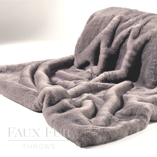 MANHATTAN GREY Luxury Faux Fur Custom Throw  140x270cm