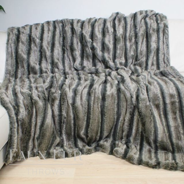 ALASKAN ASH Luxury Faux Fur Bed Runner
