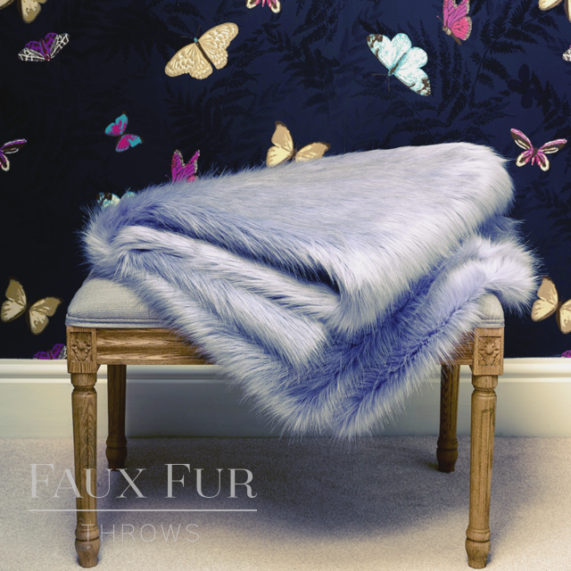 Blue Faux Fur Throw – HYDRANGEA